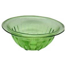 Vintage Transparent Green Paneled Bowl by Hocking 1930-40s Used Vintage condition