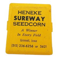 Vintage Heneke Advertisement For Sureway Seedcorn Magnetic Clip Paper Holder 1960-70s Good Condition
