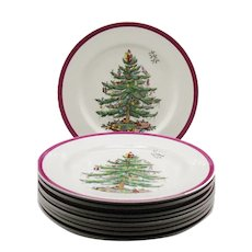 9 Vintage Spode Copeland England Back Stamp Christmas Tree with Colored Red Wine Band around the Border 1940-50s Good Like New Condition