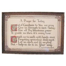 Vintage Motto A Prayer For Today by Ivy Cunningham Sprowls 1920s Good Condition