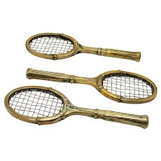 Vintage 3 Brass Paperweights Shape of Tennis Racket 1970s Good Condition
