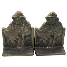 Vintage Cape Cod Fisherman Cast Iron Bookends 1928 Good Condition