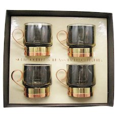 Vintage 4 Espresso Cups Brass & Copper Holder by Beucler, Ltd 1970s Original Box Very Good Condition