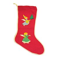 Vintage Felt Christmas Stocking with  2 Angels Attached Good Vintage Condition