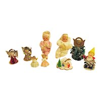 9 Various Vintage Angel & Other  Christmas Tree Ornaments 1930-50s Vintage Condition
