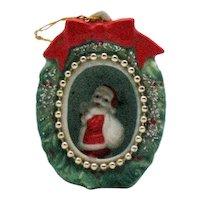 Vintage Santa Claus Fine bone China Christmas Tree Diorama Ornament 1960s Good Condition