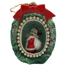 Vintage Santa Claus Fine bone China Christmas Tree Diorama Ornament 1960s Good Condition