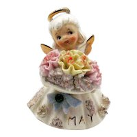 Vintage Lefton May Birthday Angel 1953-71 Good Condition