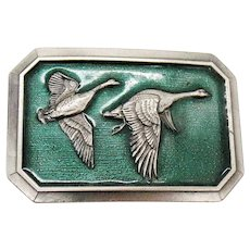 Vintage Flying Geese Belt Buckle by Great American Buckle Co. Chicago 1976 Good Condition