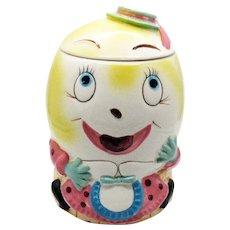 Vintage Enesco Ceramic  Mr. Humpty Dumpty Cookie Jar 1958 Good Condition