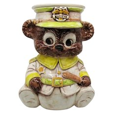 Vintage Treasure Craft Ceramic Bear Police Chief Cookie Jar 1960-80s Vintage Condition