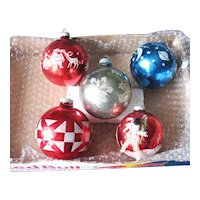 Five Vintage Shiny Brite Large Glass Ornaments Mica Glitter 1950-60s Good Used Condition