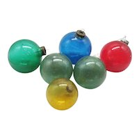 Vintage  6 Unsilvered Shiny Brite & Other Glass Christmas Ornaments 1942-45 Good Used Condition