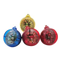 Four Vintage Plastic Diorama Christmas Tree Ornaments 1950s Good Condition