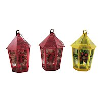 Three Vintage Plastic Christmas Tree Ornaments Candle/Floral Decorations Lanterns Good Condition