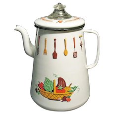 Vintage 1970s Enamelware Stove Top Coffee Pot Decorated with Kitchen Items Good Useable Condition