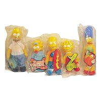Vintage Complete Set of Simpson's Family Dolls by Burger King 1990 Never Opened Excellent Condition