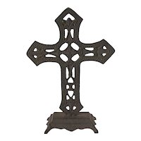 Vintage Cast Iron Altar Cross Good Condition