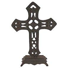 Vintage Cast Iron Altar Cross Good Condition