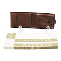 Vintage Princess Gardner Man's Brown Leather Wallet 1970s Good Unused Condition
