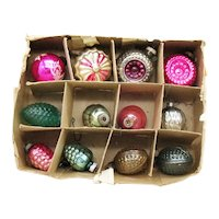 Twelve Vintage Christmas Tree Ornaments 1940-50s Vintage Condition