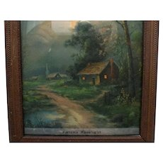 Vintage Print Autumn Moonlight 1920-30s Period Picture Frame