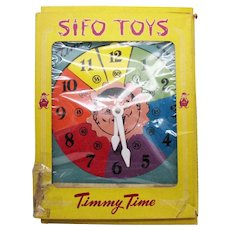 Vintage Learning Toy SIFO Co. 1950s Timmy Time Clock Good Vintage Condition