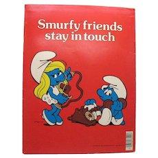 Heavy Paper Smurf School Folder 1982 Vintage Condition