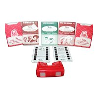 Vintage Red Bakelite Tru-Vue Viewer & 21 Story Packets 1950s Good Condition