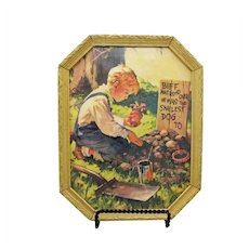 Vintage Print Boy & His Dog 1930-40s 8 Sided Frame Good Condition