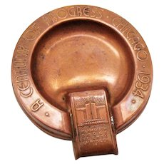 Vintage Chicago's 1934 Worlds Fair Copper Ashtray by Plymouth, Dodge, Desoto, and Chrysler Good Condition