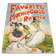 Vintage Favorite Mother Goose Rhymes by Platt & Munk Co. 1937 Linen Cover & Pages