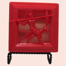 Vintage Man's Dresser Box Art Deco Celluloid Spartan Soldier & Dog Good Condition