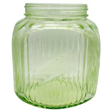 Vintage Depression Green Glass Coffee Jar Hartford/Sneath Glass Co. Maker 1930-50s