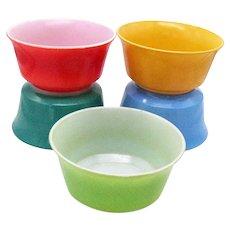 Vintage Hazel Atlas Five Ovid Pattern Cereal Bowls Fired on Color 1930-50s