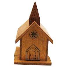 Vintage Mid-Century Wooden Church Still Bank by Bellcraft Novelties Good Condition