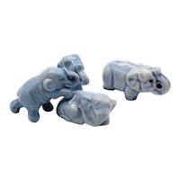 Four Small Blue Ceramic Elephants 1950-60s Good Condition