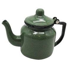 Vintage Enamel Ware One Cup Green Tea Pot 1950-60s No Holes Useable Condition