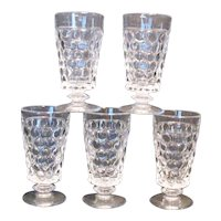 Vintage Crystal Footed Tumblers Westmoreland Thousand Eye Pattern 1932-56 Like New Condition