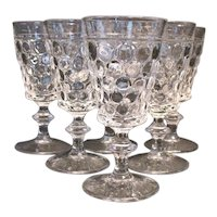 Vintage Crystal Footed Water Goblets by Westmoreland Thousand Eye Pattern 1932-56 Very Good Condition