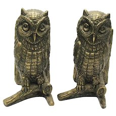 Vintage Metal Owl Bookends/Door Stops 1940-50s Good Condition