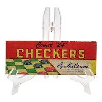 Vintage Wood Comet Checkers 1950s Original Box Good Condition