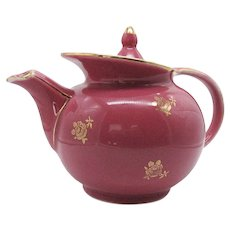 Vintage Hall Windshield Teapot Camellia with Standard Gold Pattern 6 Cups #0694 Good Condition