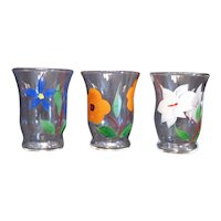 Three Vintage 1950-60s Juice Glasses with Gay Fad Floral Motifs Good Condition
