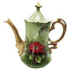 Vintage Lefton Poinsettia Teapot #4383 1951-71 Good Condition