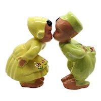 Vintage Kissing Dutch Children Tulips 1950s Very Good Condition