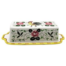 Vintage Early Provincial ¼ Pound Butter Dish Rooster & Roses 1940-50s Very Good Condition