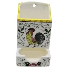 Vintage Early Provincial Rooster & Roses Wall Mount Ceramic Match Holder 1940-50s Vintage Condition