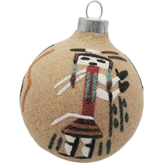 Vintage Rauch Hand Decorated Christmas Ornament with Southwest Indian Theme 1970-80s Good Condition
