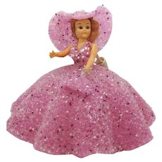 Vintage Southern Belle Doll Night Light Pink Fused Acrylic Lucite Dress Hat Purse Moveable Arms Head Eyes Open & Close1960s Good Condition